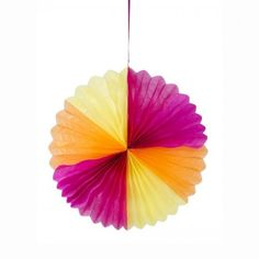 Giant Sun Fan Home, Garden, Party or Retail Decoration. Easy to construct, open and use the provided clips to secure in place. Create an explosion of tropical colours with a giant paper fan. A firey fiesta fan to decorate gardens, patios or any outdoor spaces. Great for use at an indoor party or creating a wonderful shop display. Bright and cheerful orange, pink and yellow in colour. Dimensions: 58″ diameter