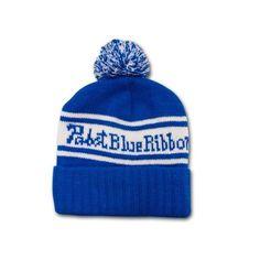 Pabst Blue Ribbon PBR Blue White Knit Pompom Winter Beanie Hat -  TeesForAll.com found 77c7c83ec35c