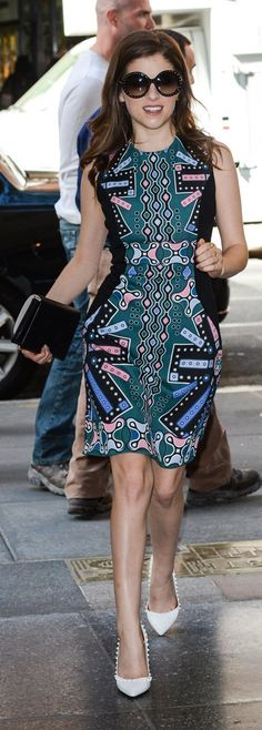 Anna Kendrick stepped out in a colorful Peter Pilotto dress while promoting her new film, Pitch Perfect 2. The bit of black mixed in with the bright design helped to tone down her look, as did her white heels.