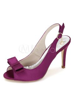 Peep Wedding Shoes Women's Bows Satin High Heel Shoes