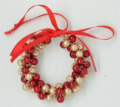 Christmas Wreath Tree Decoration - Gold & Red £2.00 by Candy Stripe Beads on Folksy
