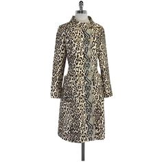 Pre-owned Tracy Reese Tan & Brown Silk Blend Animal Print Coat (1.030 DKK) ❤ liked on Polyvore featuring outerwear, coats, brown coat, animal print coat, tracy reese, tan coat and tracy reese coat
