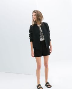 COMBINATION BOMBER JACKET from Zara - also love the shoes. and the shorts.