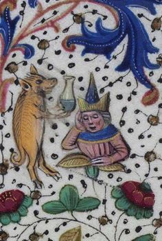 Biblioteca Nacional de España, Cod. Vitr. 24-2, f. 50r (a pig physician examing the patient's urine). Libro de horas de Leonor de la Vega. Bruges, c. 1465-70. Artist: Willem Vrelant.