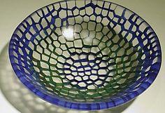 "By Gabriele Küstner.    Small Honeycomb bowl  fused & slumpled glass, 5"" dia"