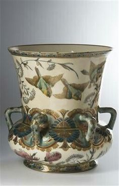 Zsolnay handle vase with birds