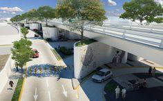 Puente Vehicular Av. Vallarta - Av. Central.    Render.    www.echaurimorales.com
