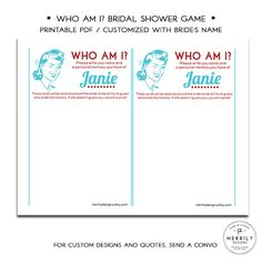 Who Am I Bridal Shower Guessing Game  by MERRILYDESIGNS on Etsy