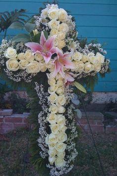Cross sympathy flowers I made for Matai