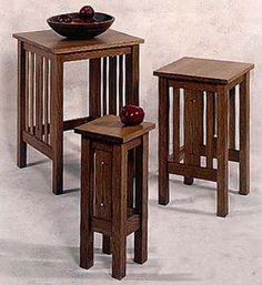 Arts and Crafts Mission Nesting Tables Woodworking Plan, Indoor Home Furniture Project Plan   WOOD Store