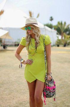 Neon Yellow Dress 2017 Street Style