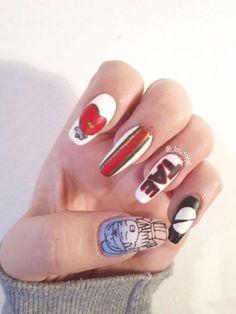 Bts nail art Happy 22th Birtheday kim taehyung Cute Nail Art, Cute Nails, Pretty Nails, Nail Polish Designs, Cute Nail Designs, Korea Nail Art, K Pop Nails, Army Nails, November Nails