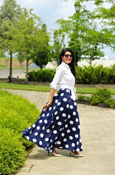 Women's Fashion, Maxi Skirt Styling Ideas,Polka Dot Full Maxi Skirt, Polka Dot Long skirt, Mix Nouveau Skirt, J Crew endless shirt