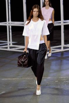 [ Alexander Wang spring/summer 2014 ] ⁍ Another season, another round of sports-inspired looks. This season it was less about the concept of sportswear and more about the items: neat blousons, athletic shorts and wrap minis, sports-mesh tunic tops and relaxed city joggers ⁌
