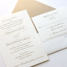 Gold Thermography Wedding Invitation Elegant by blushpaperie