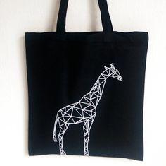 Jute/Stoffbeutel  Schwarz Geometrie Giraffe von EdyDarkShop auf Etsy