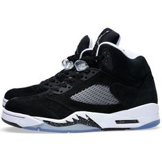 Nike Air Jordan V Retro 'Oreo' (Black) ❤ liked on Polyvore featuring mens, men's shoes, men's sneakers, shoes, jordans and sneakers