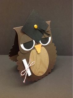 handmade Owl shaped card ... punch art styling ... graduation theme with diploma and mortar board cap ... luv the woodgrain belly ...