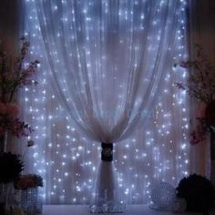 lights behind curtains - romantic