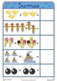 Fichas para aprender a sumar de manera sencilla y muy visual. Aprovecha y utilízalas para los más peques Numbers Preschool, Preschool Math, Kindergarten Math, Infant Activities, Preschool Activities, Teaching Kids, Kids Learning, Bottle Label, English Grammar For Kids