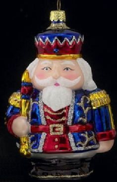 Blue King Nutcracker Glass Christmas Tree Ornament New Holiday Decoration   eBay