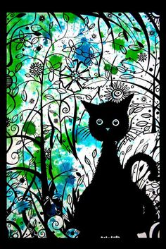 black cat against floral fun print