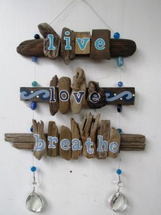 Wire, colorful glass beads, and driftwood combine to make this beachy home decor. Measurements: hangs total, 12 across Buy Driftwood, Painted Driftwood, Driftwood Wall Art, Driftwood Projects, Sea Glass Crafts, Shell Crafts, Beach Wood, Beach Art, Stick Art