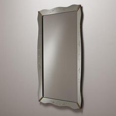 Talisman An Italian Rectangular Etched Glass Mirror 1950s -
