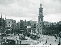 1910 Muntplein  Muntplein vóór de verbreeding van de Vijzelstraat