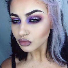 Vibrant purple look by the gorgeous Jamie Genevieve using Makeup Geek's Caitlin Rose foiled eyeshadow.