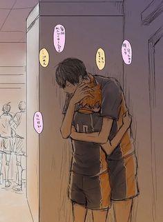 Kageyama comforting his nervous boyfriend