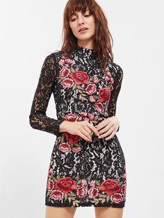 Vestido ajustado de encaje con bordado de rosa-(Sheinside)