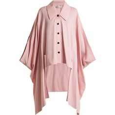 Palmer//harding Cotton and wool-blend cape (7.221.265 IDR) ❤ liked on Polyvore featuring pink, wool blend cape coat, pink cape, pink cape coat, cape coat and wool blend cape