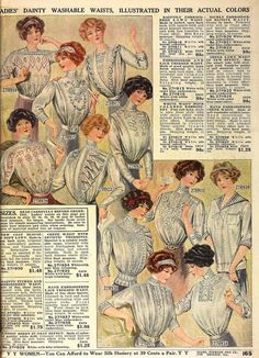 Dainty washable waists (blouses) from 1912 catalog Edwardian Clothing, Edwardian Era, Edwardian Fashion, Vintage Fashion, Antique Clothing, Lily Elsie, 60 Fashion, Fashion History, Ladies Fashion