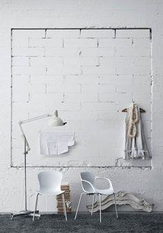 There is something about white brick wall ideas that I really like. No matter what kind of space it is, I like to see a brick wall no matter how small that area is Painted Brick Walls, White Brick Walls, White Bricks, Home Interior Design, Interior And Exterior, Store Concept, Look Wallpaper, Brick Wallpaper, Acrylic Chair