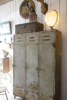 Vintage Industrial Locker 3 doors with a stunning patina with original paint. #LaboutiqueVintage