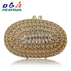 Wholesale Dazzling Gold Hollow Out Crystal Women Evening Bags Diamond Beaded  Wedding Clutch Package Bridal Minaudiere Purse Review 46c79bc1ab32