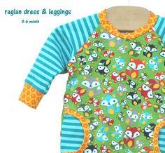 baby girl dress and leggings set, 3-6 m. SUNSHINE FOX RAGLAN, blue, turquoise, yellow, orange. Bright, Bold and Beautiful!!
