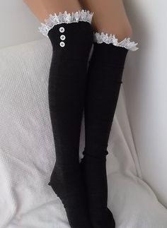 Dark Grey Socks  Boot socks boot cuffs leg by CarnavalBoutique, $20.00