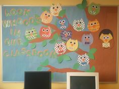 Owl Bulletin Board for preschoolers at A Place To Grow, each owl has a child's name on it and the larger owl has the teacher's name.