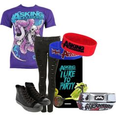 asking alexandria shoes Band Outfits, Scene Outfits, Emo Outfits, Asking Alexandria Merch, Scene Style, My Style, Emo Clothes, Skater Girl Outfits, Scene Kids