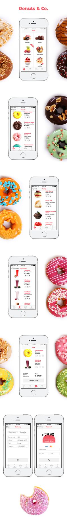 Donuts Co. App for iPhone 0 Mobile Web Design, Web Ui Design, Design Design, Restaurant App, App Design Inspiration, Ui Web, Apps, Applications, Mobile Ui