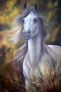 White Horse, fine art giclee reproduction, horse, western art,original oil, Glenda Okiev