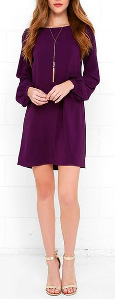 You'll be primed and ready in the Perfect Situation Purple Long Sleeve Shift Dress when everything starts falling into place! This woven poly dress has a casual shift shape, accented by a rounded neckline and long sleeves with lightly puffed shoulders. Sleeves end with matching button tabs on the fitted wrist cuffs. #lovelulus