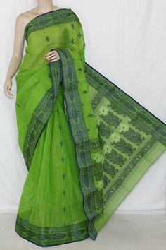 Parrot Green Handwoven Bengali Tant Cotton Saree (Without Blouse) 14093