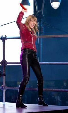 Taylor Swift wearing YSL leather pants