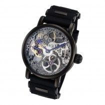 Skeleton face hand wind, mechanical watch with black silicone band. #skeletonwatchshop #skeletonwatches #rougoiswatches #menswatches