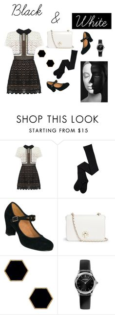 """Black & White"" by nurrahmayarani on Polyvore featuring self-portrait, Tory Burch, Janna Conner Designs, Emporio Armani, women's clothing, women, female, woman, misses and juniors"