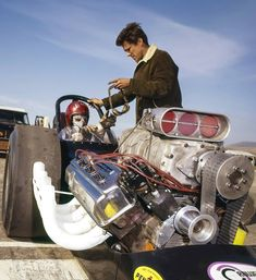"cncenginedynamics: ""Don Garlits, Half Moon Bay 1966 "" Top Fuel Dragster, Big Daddy, Drag Cars, Car Engine, Detail Art, Car Humor, Vintage Racing, Car Detailing, Drag Racing"