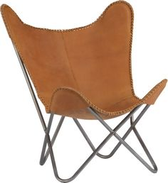 """year of the butterfly.  Inspired by the original """"198 Hardoy Chair"""" (aka """"Butterfly"""") designed in 1938.  Who knew? It had a natural leather hide sling and not the ubiquitous fabrics on collapsible hairpin frames.  Our butterfly is the monarch, ruling again in iconic style.  Top-grain, full-aniline, vegetable-tanned leather hides hand-stitched in quadrants and hand-laced at the edges read pure vintage with a warm, natural saddle glow."""